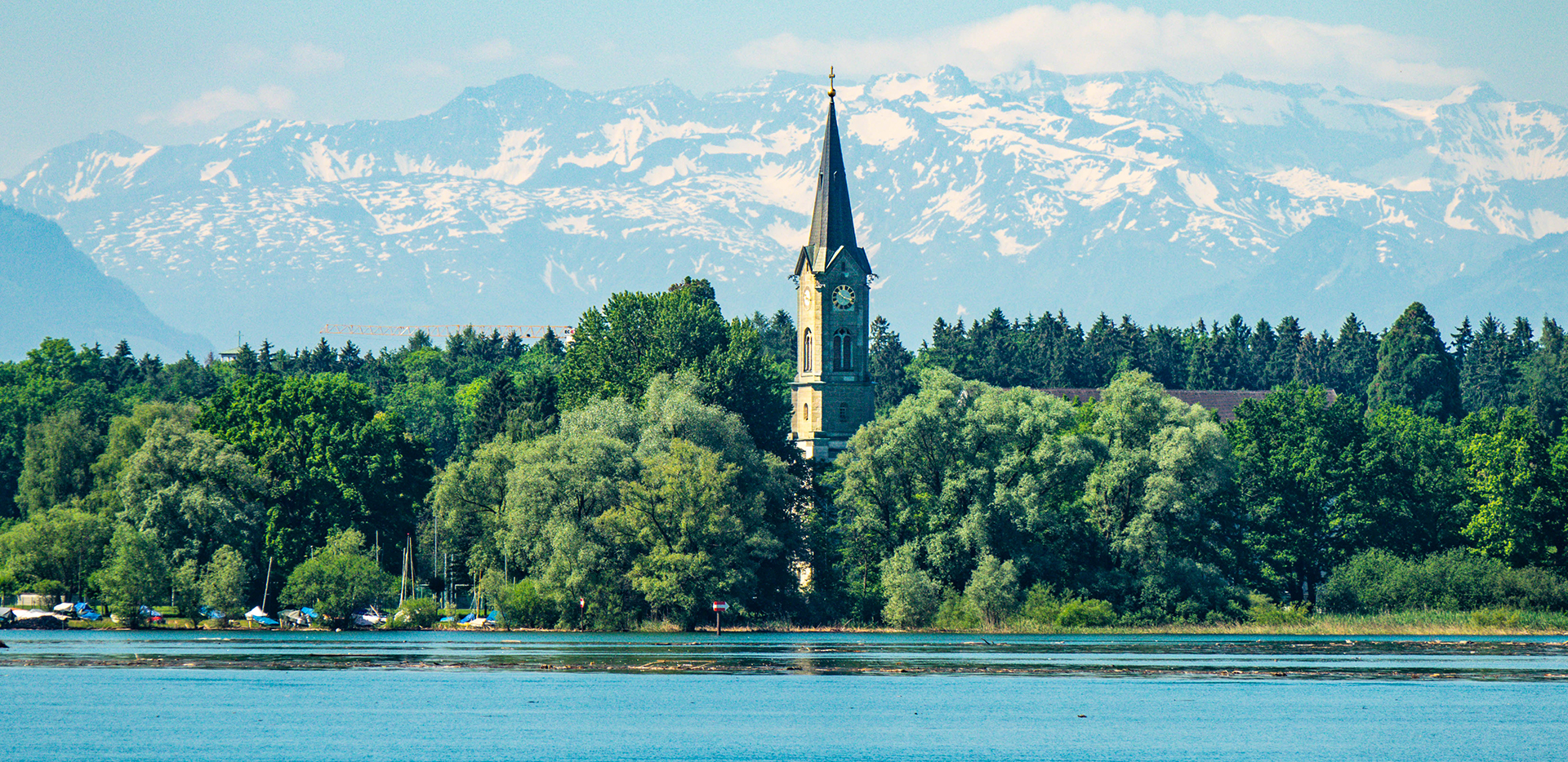 Lake Constance Bodensee Church Tower And Swiss Alps