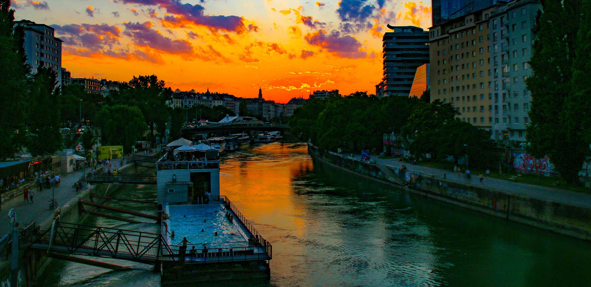 Sunset over Danube Canal