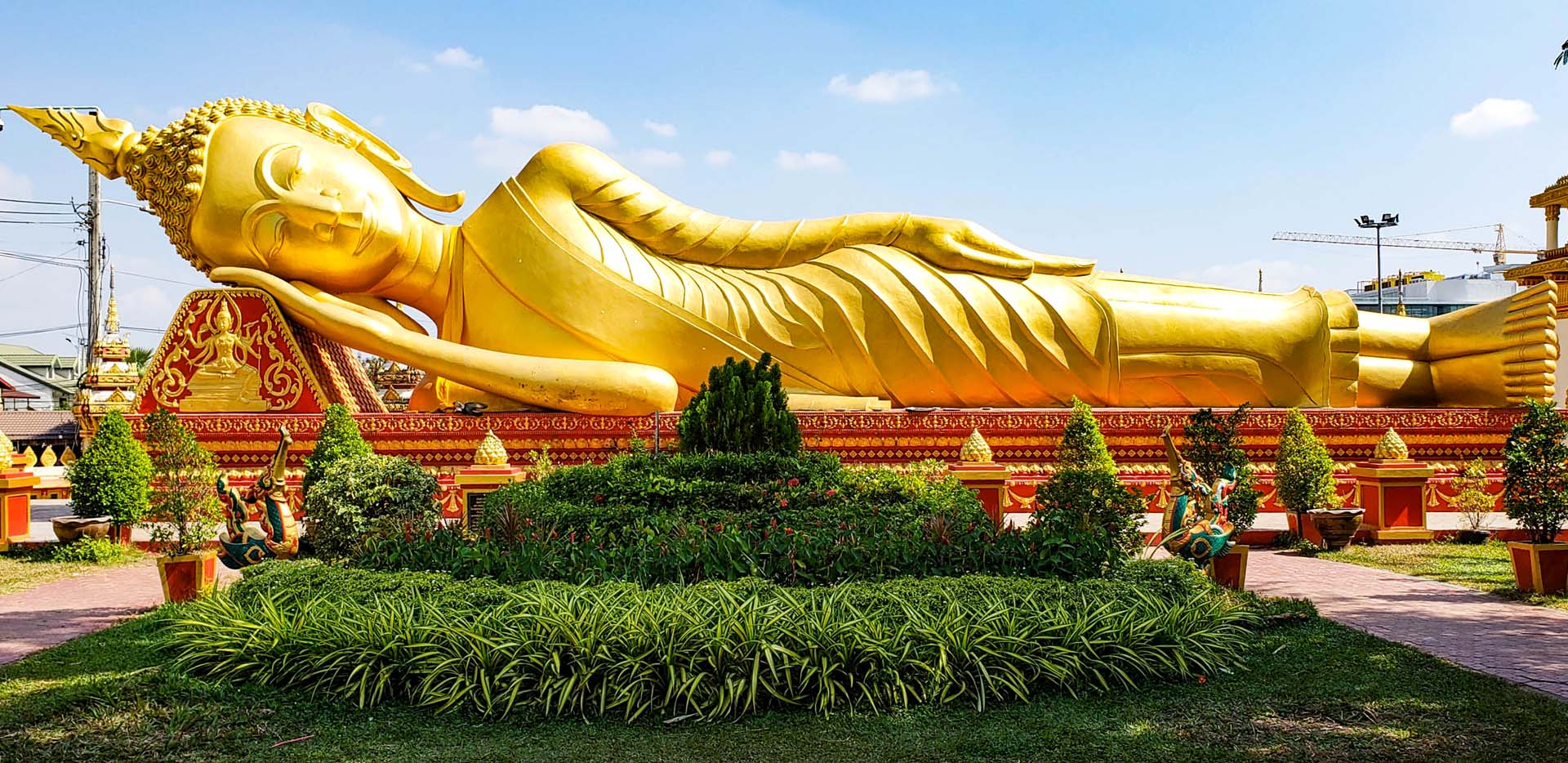 Pa That Luang Temple Reclining Buddha