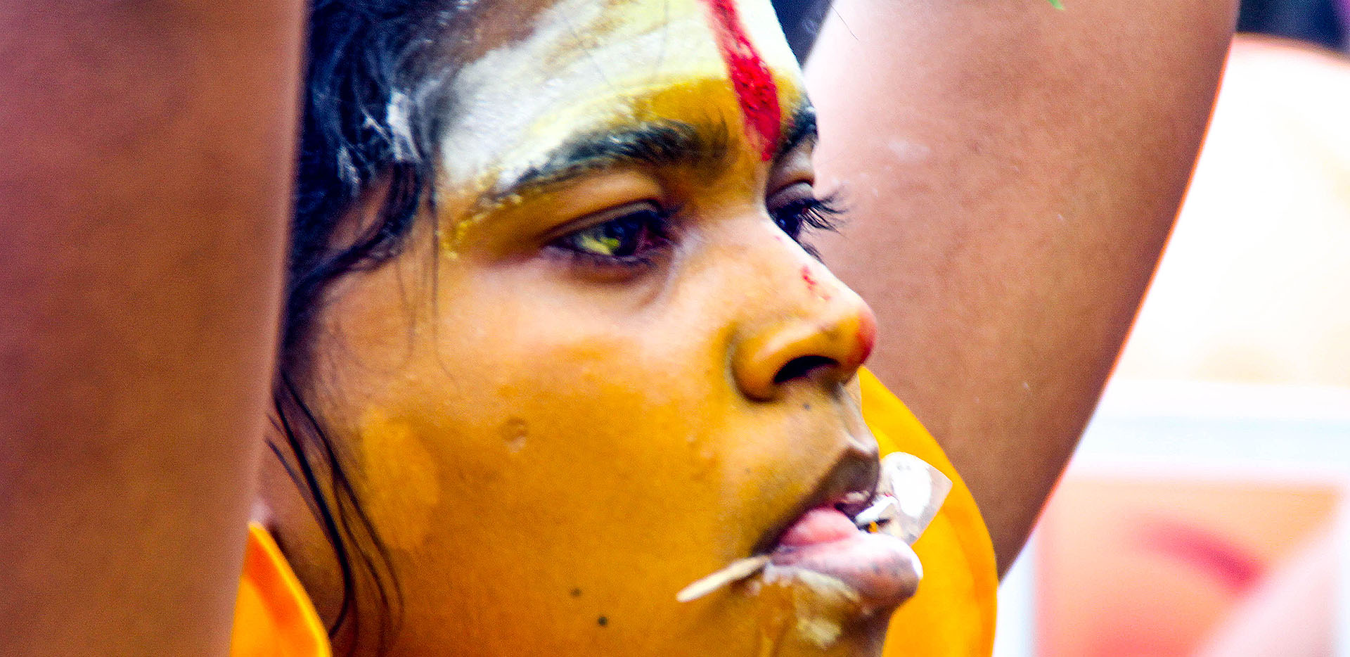Batu Caves Thaipusam Festival Girl with Face Spike