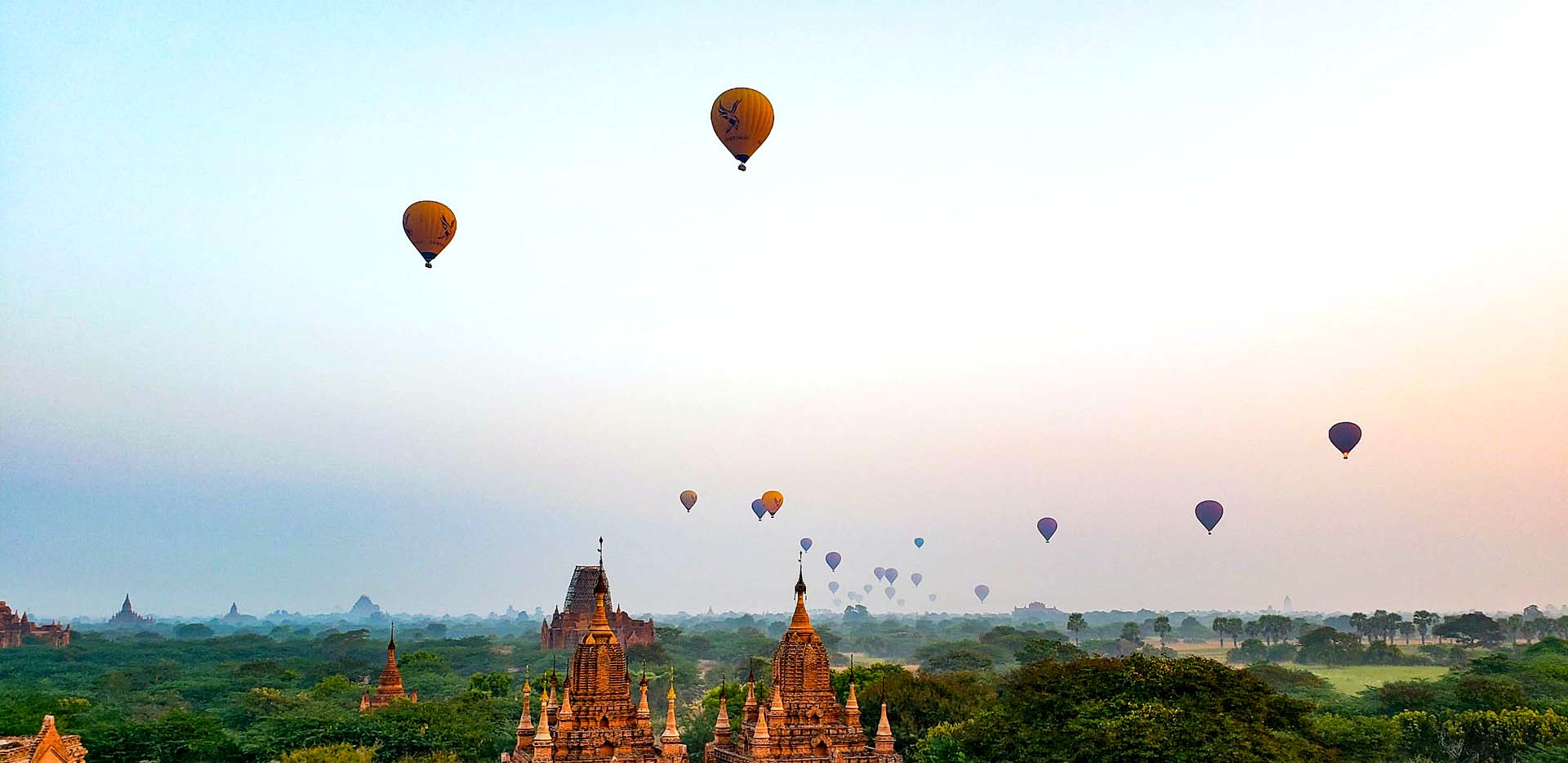 Balloons at Sunrise over the Pagodas