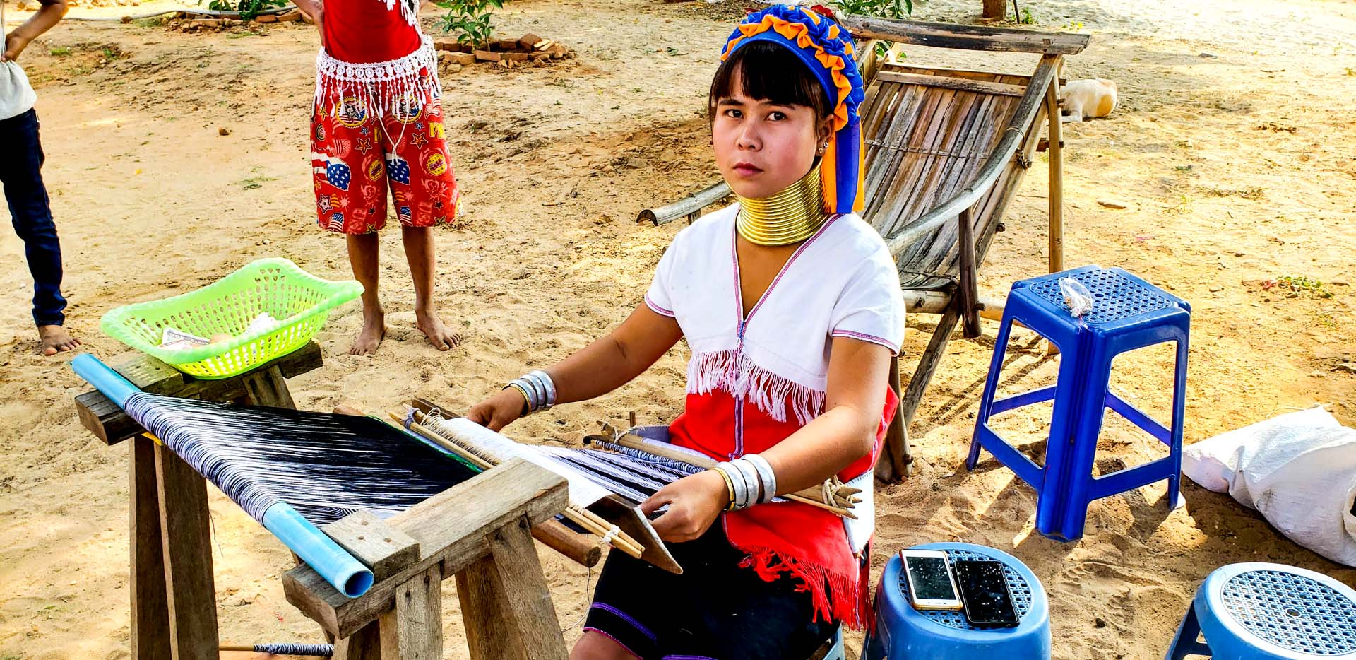 Kayan Long Neck Girl with Brass Rings on Neck