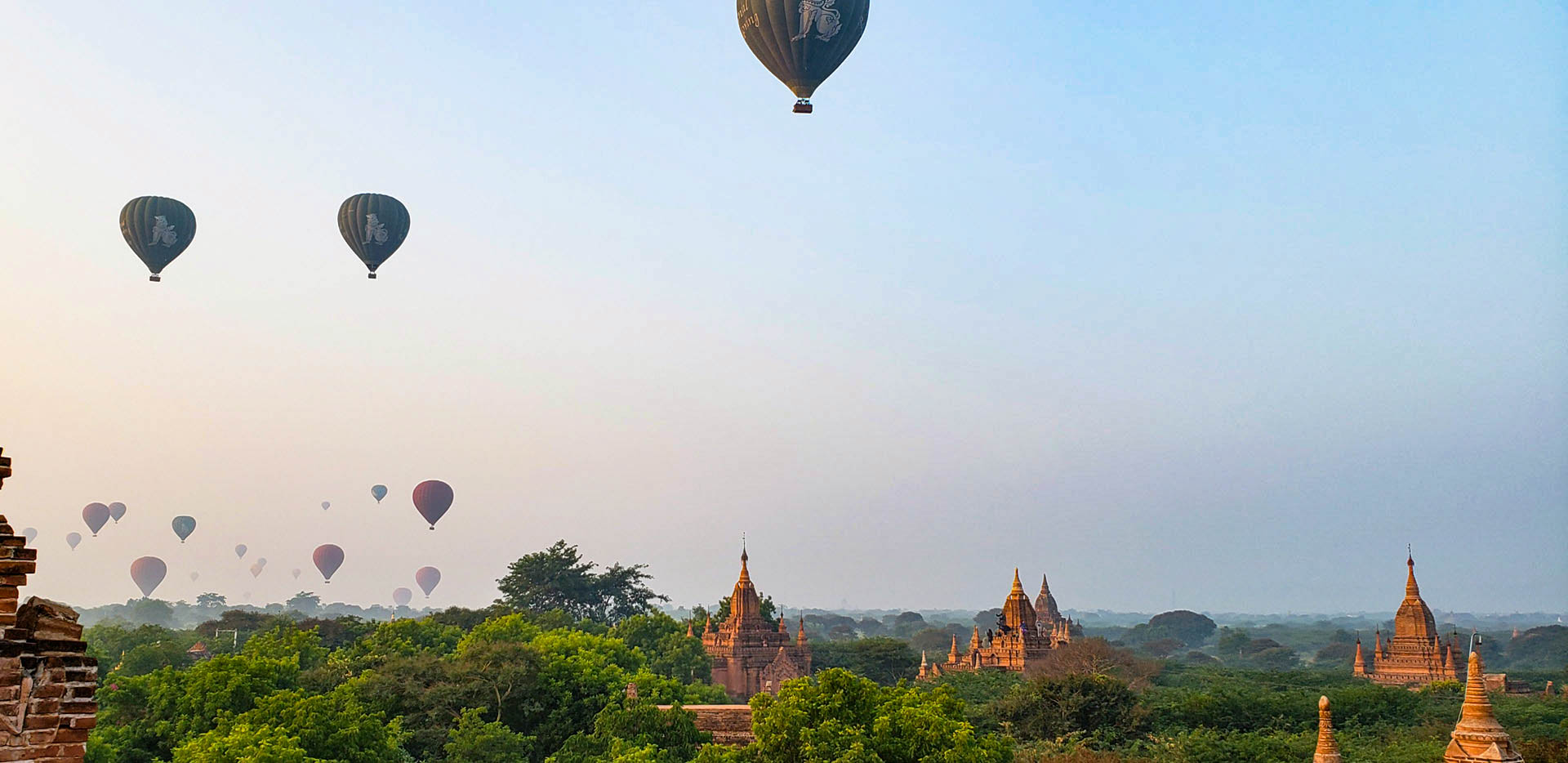 Pagodas and Balloons at Sunrise