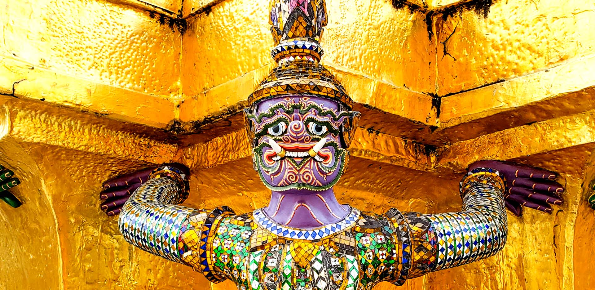 Demon Statue With Purple Face at Wat Phra Kaew in Grand Palace