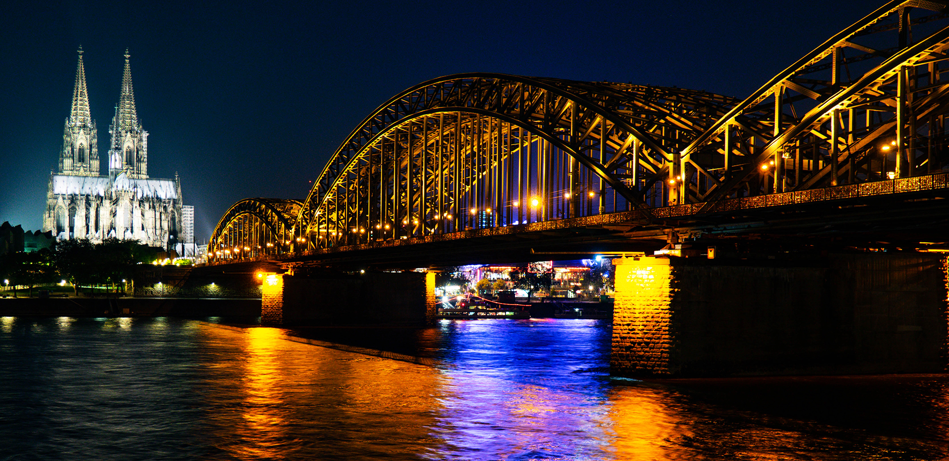 Cathedral And Rhine River Bridge Night