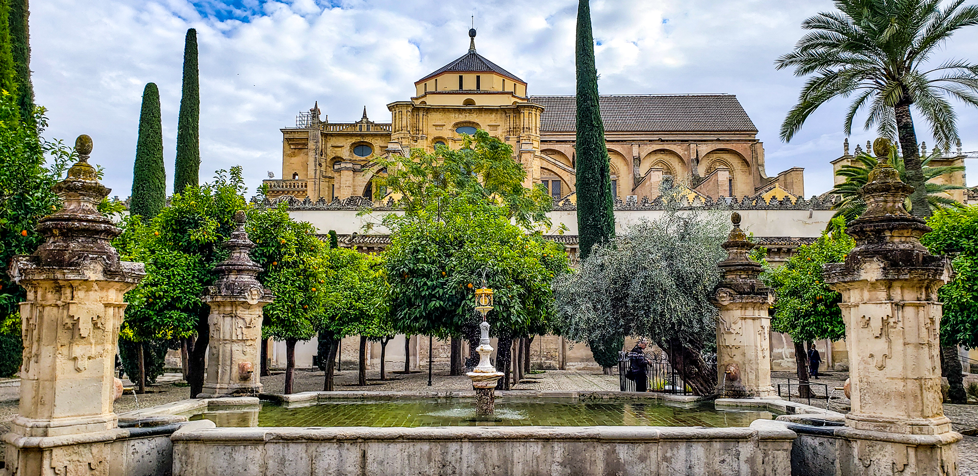 Spain Cordoba Mosque Cathedral Courtyard Fountain